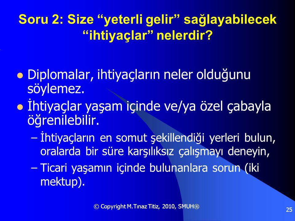"""© Copyright M.Tınaz Titiz, 2010, SMUH® 25 Soru 2: Size """"yeterli gelir"""" sağlayabilecek """"ihtiyaçlar"""" nelerdir?  Diplomalar, ihtiyaçların neler olduğunu"""