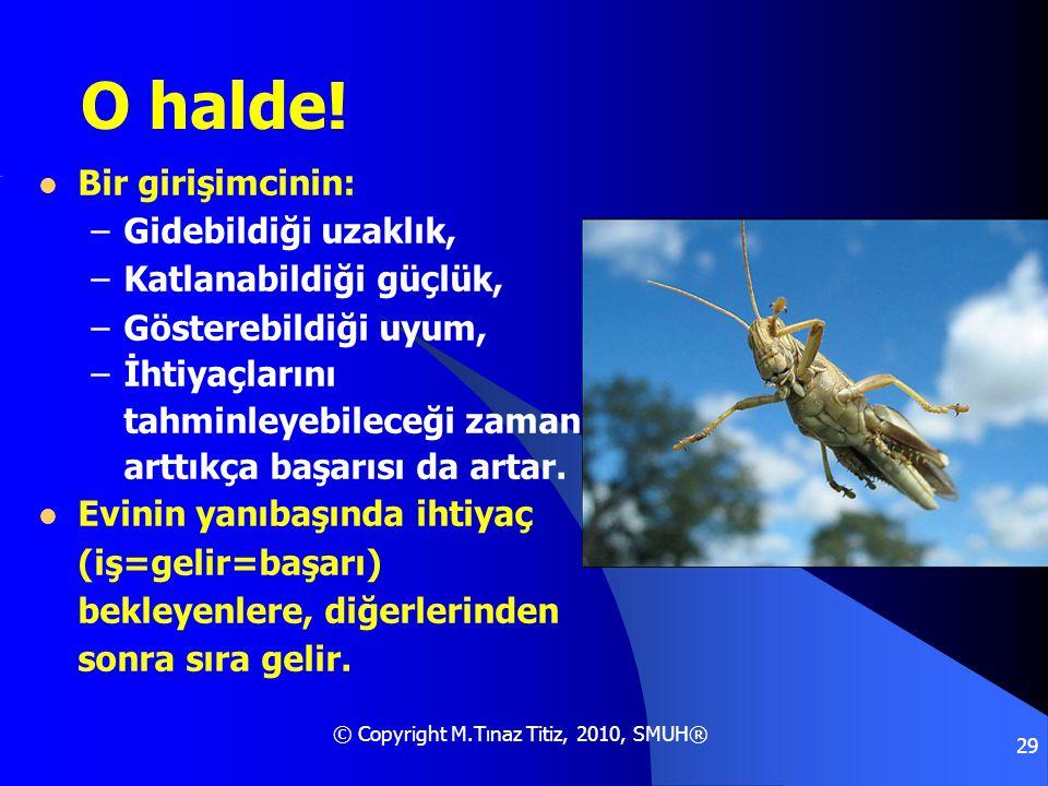 © Copyright M.Tınaz Titiz, 2010, SMUH® 29 O halde!  Bir girişimcinin: –Gidebildiği uzaklık, –Katlanabildiği güçlük, –Gösterebildiği uyum, –İhtiyaçlar