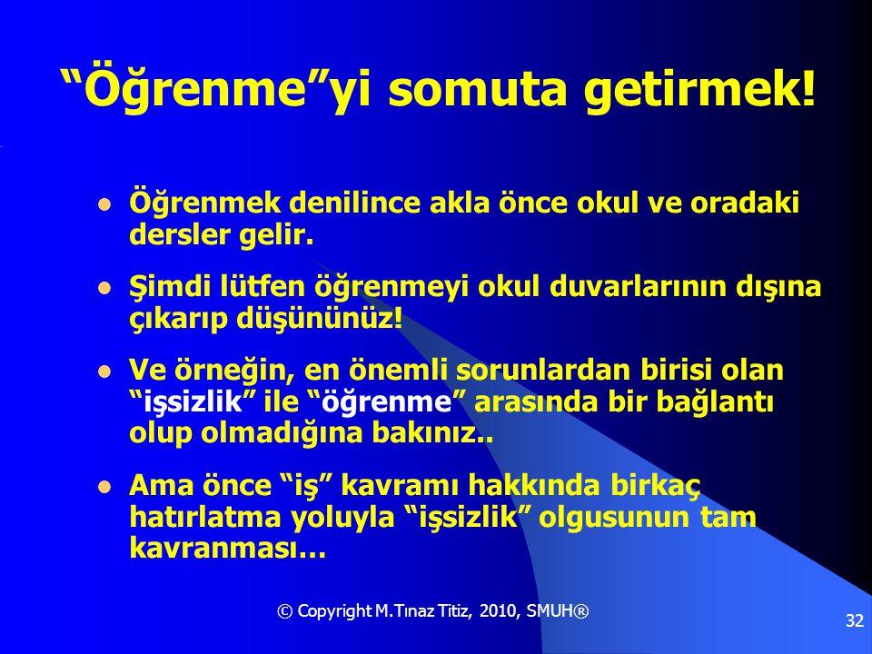 © Copyright M.Tınaz Titiz, 2010, SMUH® 32  Öğrenmek denilince akla önce okul ve oradaki dersler gelir.  Şimdi lütfen öğrenmeyi okul duvarlarının dış