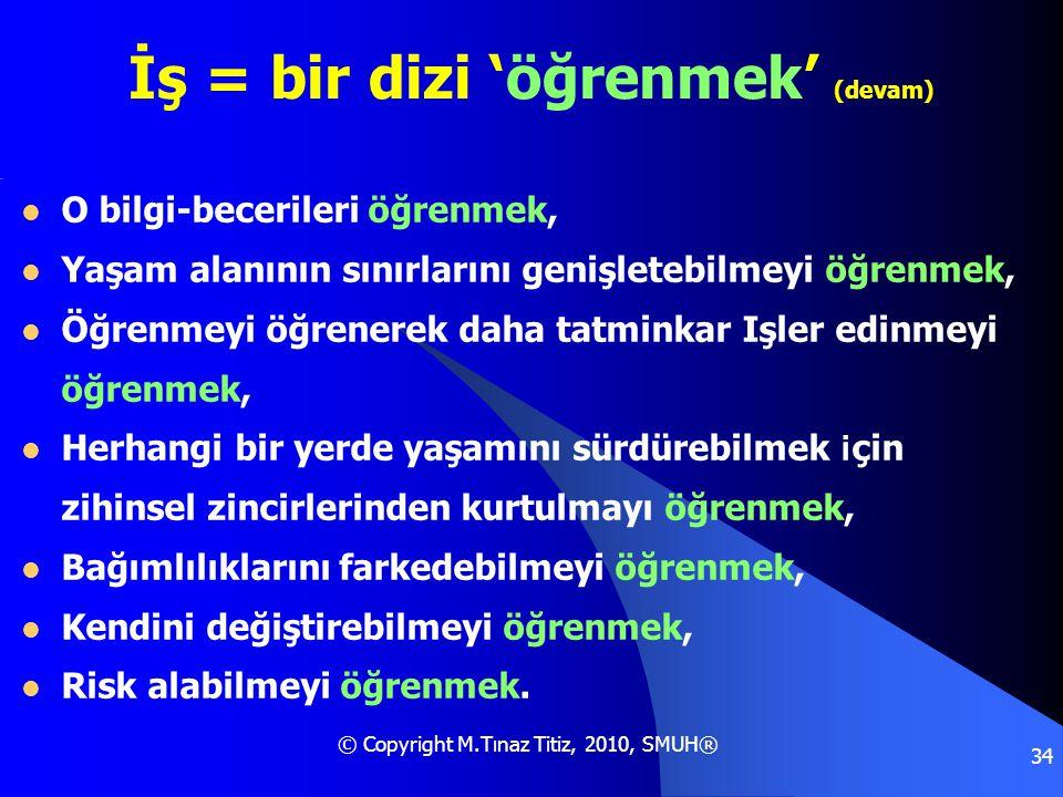 © Copyright M.Tınaz Titiz, 2010, SMUH® 34 İş = bir dizi 'öğrenmek' (devam)  O bilgi-becerileri öğrenmek,  Yaşam alanının sınırlarını genişletebilmey