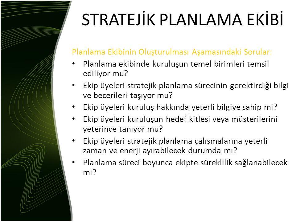 STRATEJİK PLANLAMA EKİBİ Planlama Ekibinin Oluşturulması Aşamasındaki Sorular: • Planlama ekibinde kuruluşun temel birimleri temsil ediliyor mu? • Eki