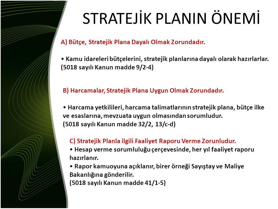 STRATEJİK PLANIN ÖNEMİ A) Bütçe, Stratejik Plana Dayalı Olmak Zorundadır. • Kamu idareleri bütçelerini, stratejik planlarına dayalı olarak hazırlarlar