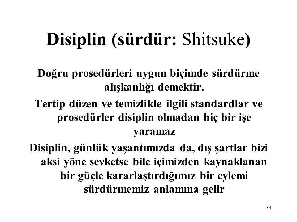 34 Disiplin (sürdür: Shitsuke) Doğru prosedürleri uygun biçimde sürdürme alışkanlığı demektir. Tertip düzen ve temizlikle ilgili standardlar ve prosed