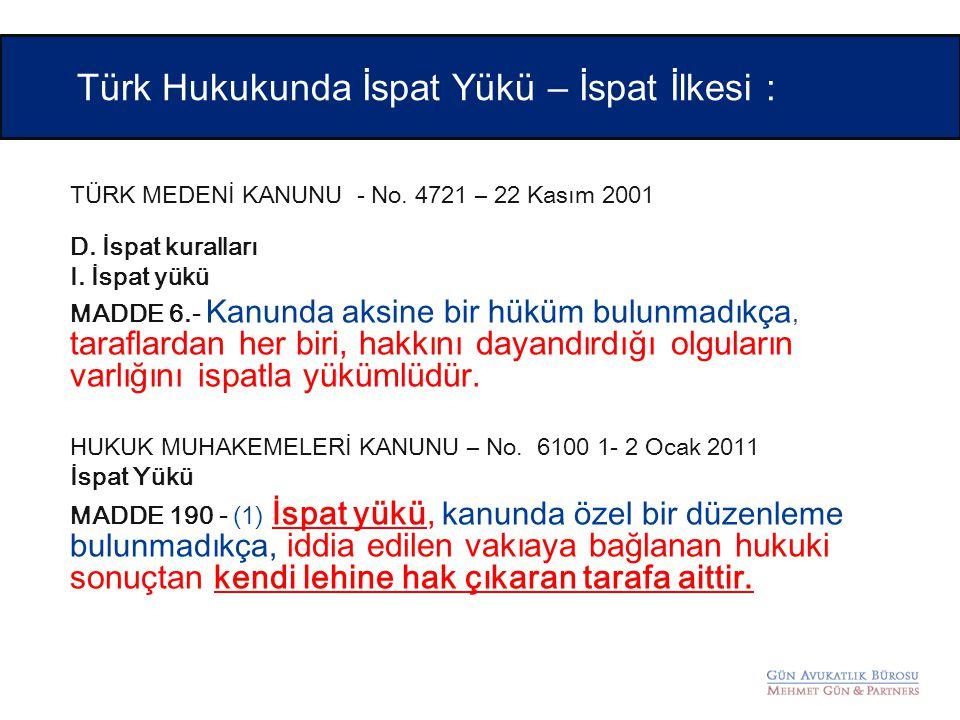 TÜRK MEDENİ KANUNU - No. 4721 – 22 Kasım 2001 D. İspat kuralları I. İspat yükü MADDE 6.- Kanunda aksine bir hüküm bulunmadıkça, taraflardan her biri,