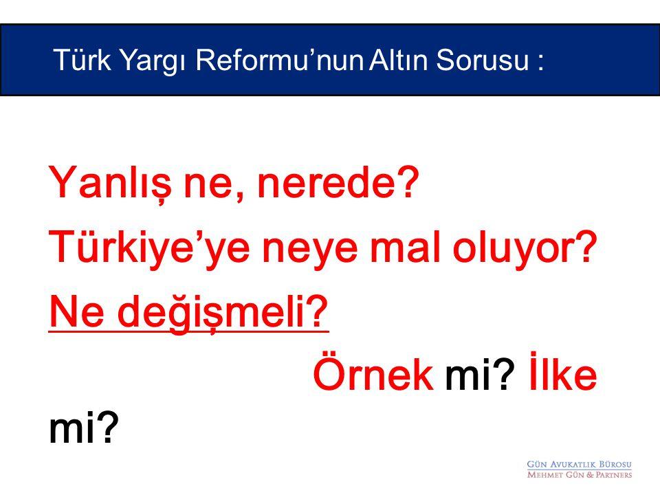 Yanlış ne, nerede? Türkiye'ye neye mal oluyor? Ne değişmeli? Örnek mi? İlke mi? Türk Yargı Reformu'nun Altın Sorusu :