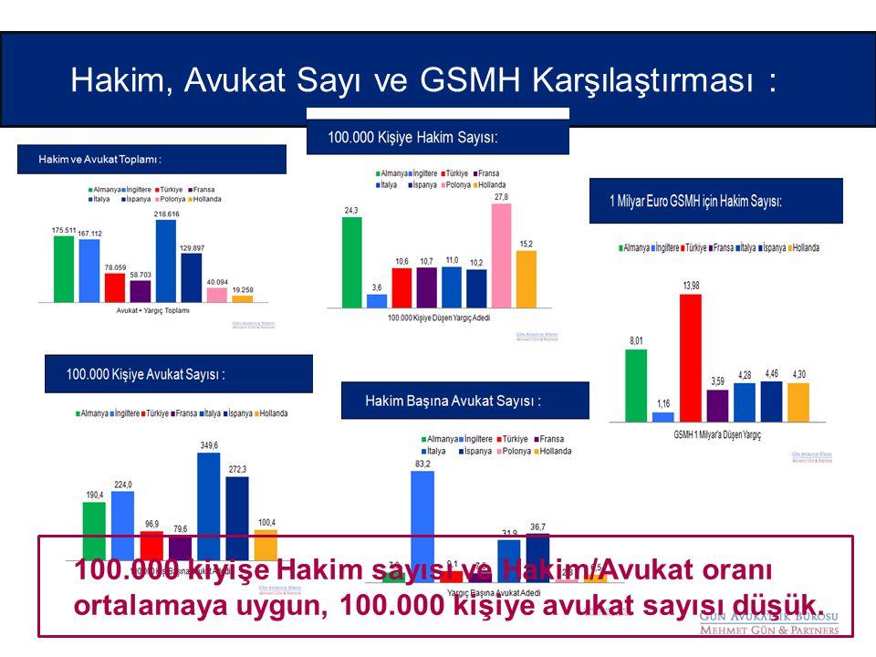 Hakim, Avukat Sayı ve GSMH Karşılaştırması : 100.000 kiyişe Hakim sayısı ve Hakim/Avukat oranı ortalamaya uygun, 100.000 kişiye avukat sayısı düşük.