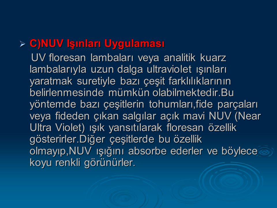  C)NUV Işınları Uygulaması UV floresan lambaları veya analitik kuarz lambalarıyla uzun dalga ultraviolet ışınları yaratmak suretiyle bazı çeşit farkl