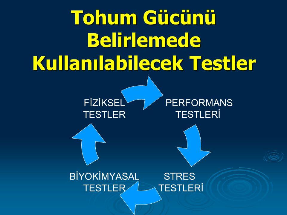 Tohum Gücünü Belirlemede Kullanılabilecek Testler PERFORMANS TESTLERİ STRES TESTLERİ BİYOKİMYASAL TESTLER FİZİKSEL TESTLER