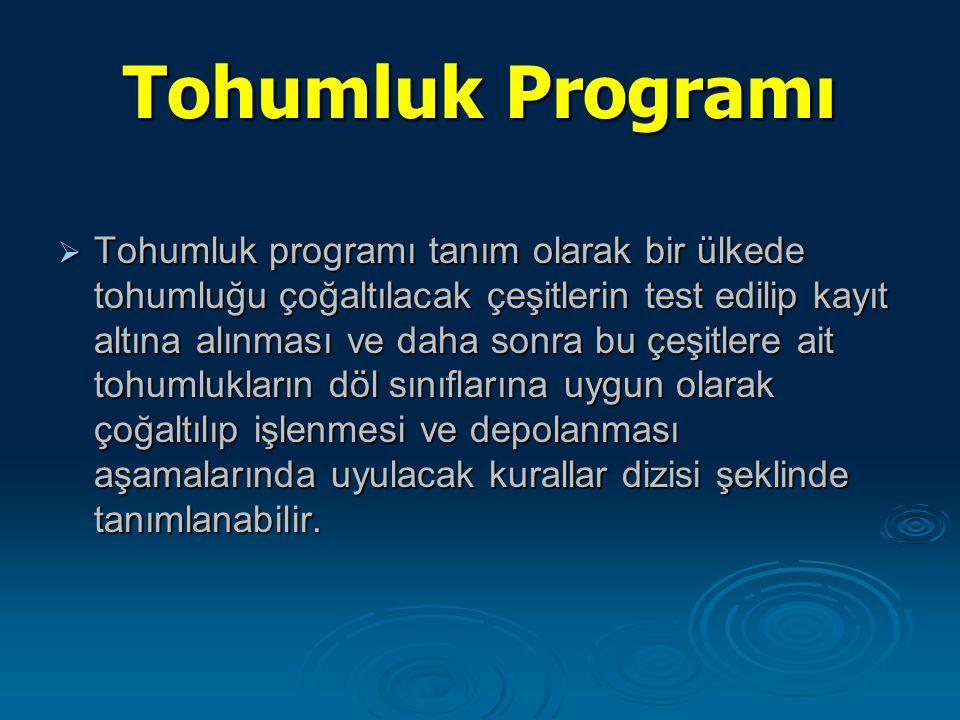 Tohumluk Programı  Tohumluk programı tanım olarak bir ülkede tohumluğu çoğaltılacak çeşitlerin test edilip kayıt altına alınması ve daha sonra bu çeş