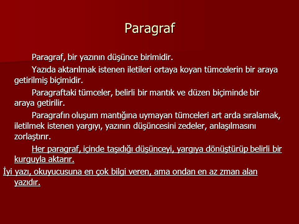 Paragraf Paragraf, bir yazının düşünce birimidir. Paragraf, bir yazının düşünce birimidir. Yazıda aktarılmak istenen iletileri ortaya koyan tümcelerin