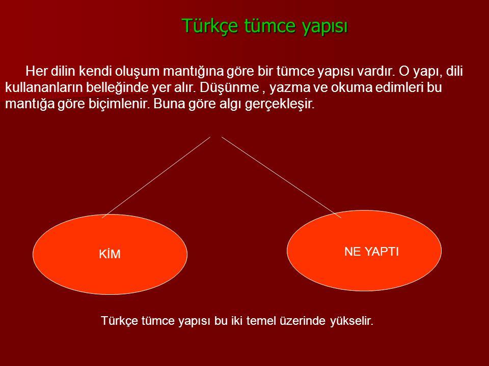 Türkçe tümce yapısı Türkçe tümce yapısı Her dilin kendi oluşum mantığına göre bir tümce yapısı vardır. O yapı, dili kullananların belleğinde yer alır.