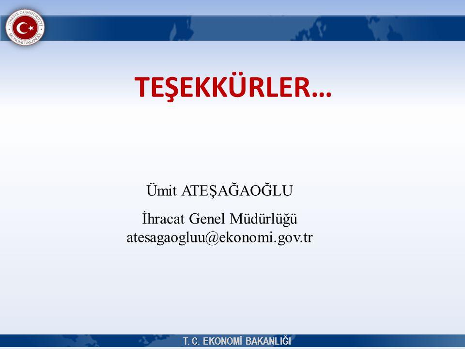 TEŞEKKÜRLER… Ümit ATEŞAĞAOĞLU İhracat Genel Müdürlüğü atesagaogluu@ekonomi.gov.tr T. C. EKONOMİ BAKANLIĞI