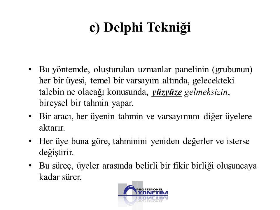 c) Delphi Tekniği • Bu yöntemde, oluşturulan uzmanlar panelinin (grubunun) her bir üyesi, temel bir varsayım altında, gelecekteki talebin ne olacağı k