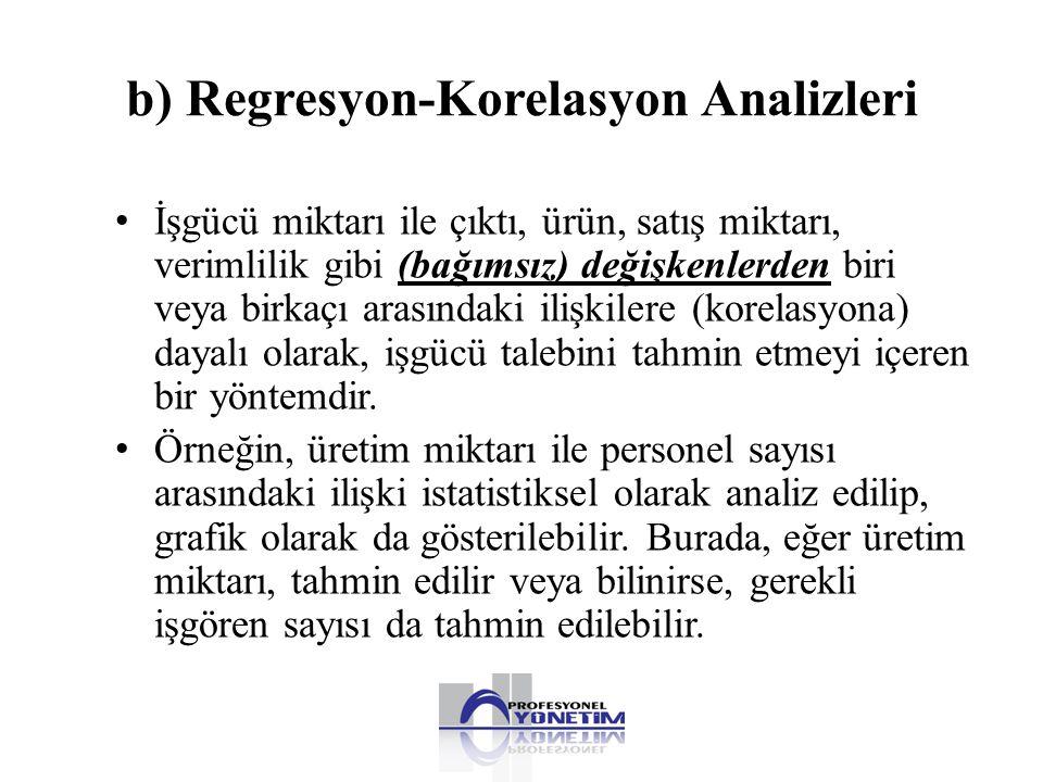 b) Regresyon-Korelasyon Analizleri • İşgücü miktarı ile çıktı, ürün, satış miktarı, verimlilik gibi (bağımsız) değişkenlerden biri veya birkaçı arasın