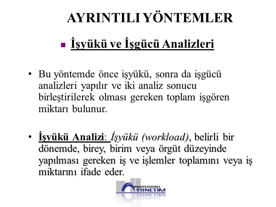 AYRINTILI YÖNTEMLER • Bu yöntemde önce işyükü, sonra da işgücü analizleri yapılır ve iki analiz sonucu birleştirilerek olması gereken toplam işgören m
