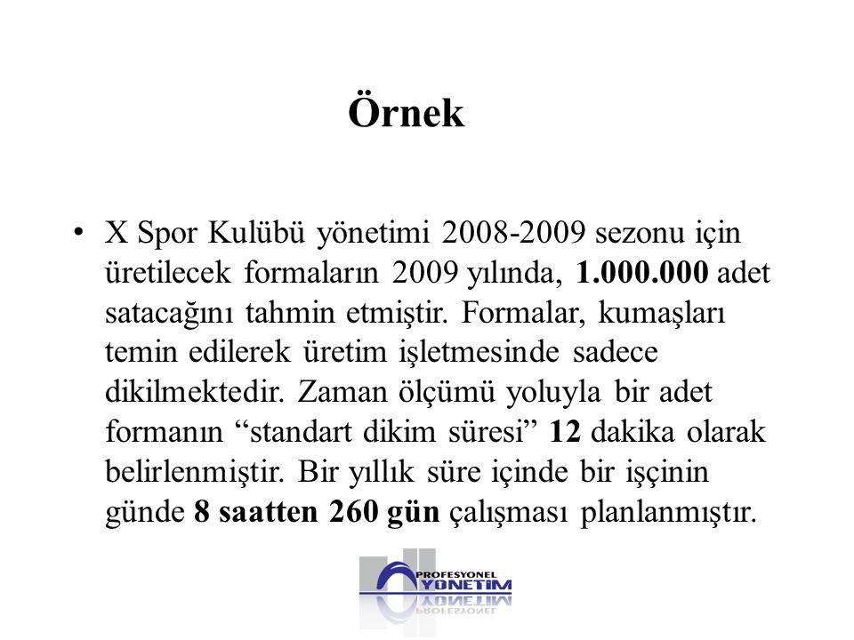 Örnek • X Spor Kulübü yönetimi 2008-2009 sezonu için üretilecek formaların 2009 yılında, 1.000.000 adet satacağını tahmin etmiştir. Formalar, kumaşlar