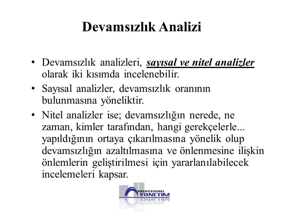 Devamsızlık Analizi • Devamsızlık analizleri, sayısal ve nitel analizler olarak iki kısımda incelenebilir. • Sayısal analizler, devamsızlık oranının b