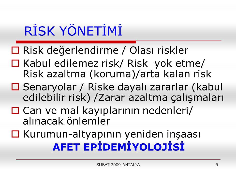 ŞUBAT 2009 ANTALYA5 RİSK YÖNETİMİ  Risk değerlendirme / Olası riskler  Kabul edilemez risk/ Risk yok etme/ Risk azaltma (koruma)/arta kalan risk  S