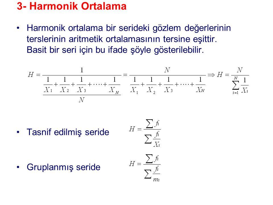 3- Harmonik Ortalama •Harmonik ortalama bir serideki gözlem değerlerinin terslerinin aritmetik ortalamasının tersine eşittir. Basit bir seri için bu i