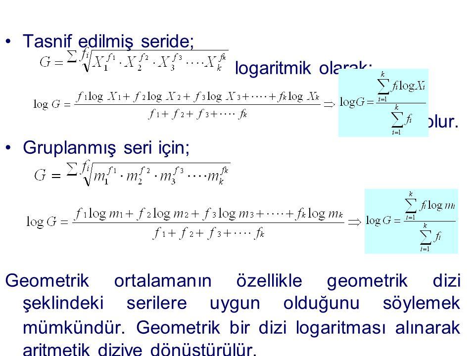 •Tasnif edilmiş seride; logaritmik olarak; olur. •Gruplanmış seri için; Geometrik ortalamanın özellikle geometrik dizi şeklindeki serilere uygun olduğ