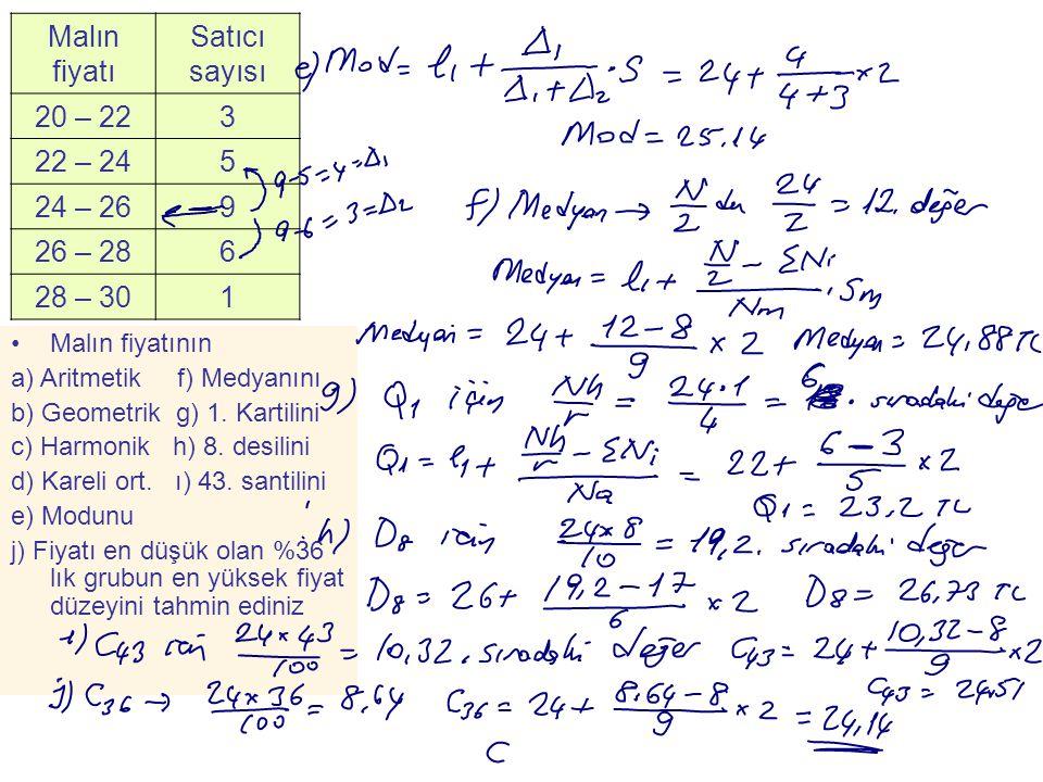 Malın fiyatı Satıcı sayısı 20 – 223 22 – 245 24 – 269 26 – 286 28 – 301 •Malın fiyatının a) Aritmetik f) Medyanını b) Geometrik g) 1. Kartilini c) Har