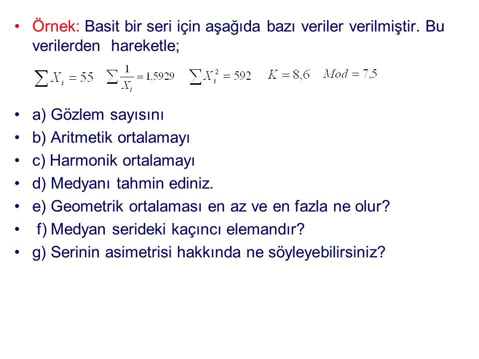•Örnek: Basit bir seri için aşağıda bazı veriler verilmiştir. Bu verilerden hareketle; •a) Gözlem sayısını •b) Aritmetik ortalamayı •c) Harmonik ortal