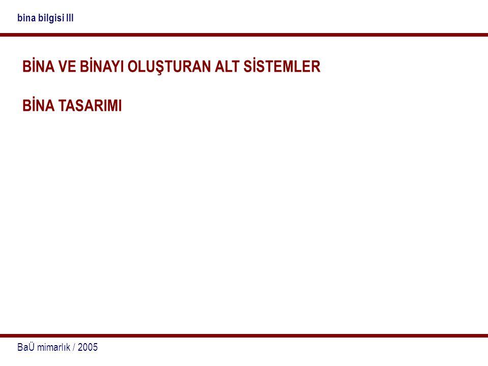 BaÜ mimarlık / 2005 bina bilgisi III BİNA VE BİNAYI OLUŞTURAN ALT SİSTEMLER BİNA TASARIMI