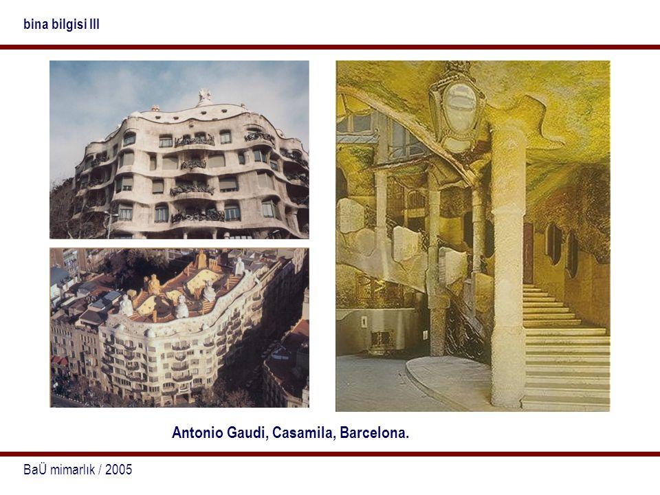 BaÜ mimarlık / 2005 bina bilgisi III Antonio Gaudi, Casamila, Barcelona.