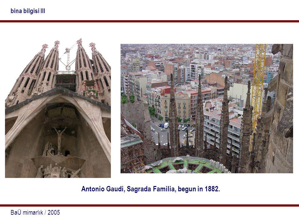 BaÜ mimarlık / 2005 bina bilgisi III Antonio Gaudi, Sagrada Familia, begun in 1882.