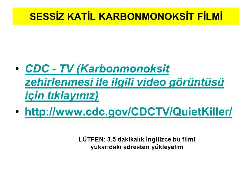 SESSİZ KATİL KARBONMONOKSİT FİLMİ •CDC - TV (Karbonmonoksit zehirlenmesi ile ilgili video görüntüsü için tıklayınız) CDC - TV (Karbonmonoksit zehirlen