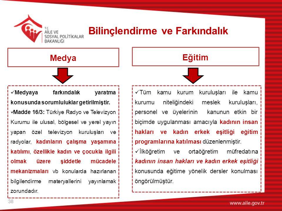 38 Medya  Medyaya farkındalık yaratma konusunda sorumluluklar getirilmiştir.  Madde 16/3: Türkiye Radyo ve Televizyon Kurumu ile ulusal, bölgesel ve