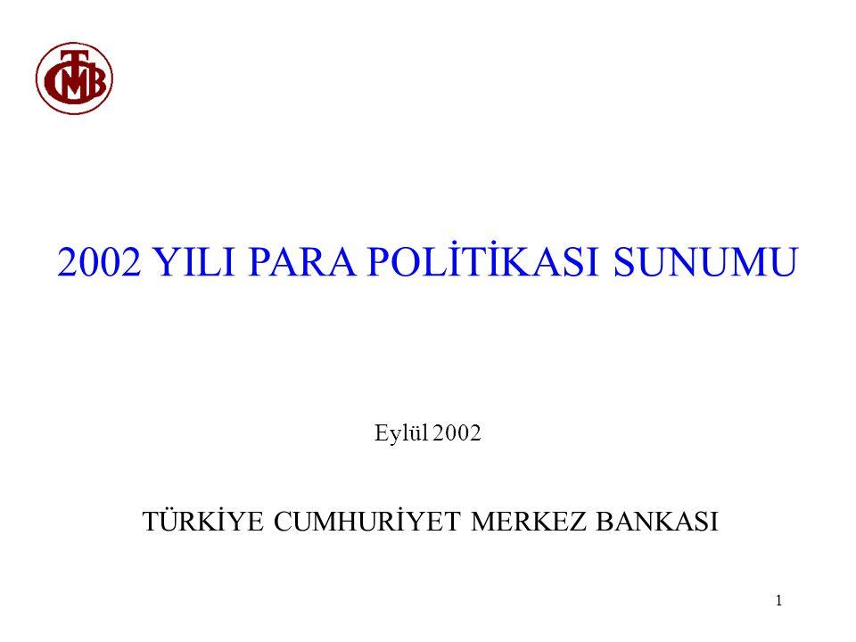 1 2002 YILI PARA POLİTİKASI SUNUMU Eylül 2002 TÜRKİYE CUMHURİYET MERKEZ BANKASI