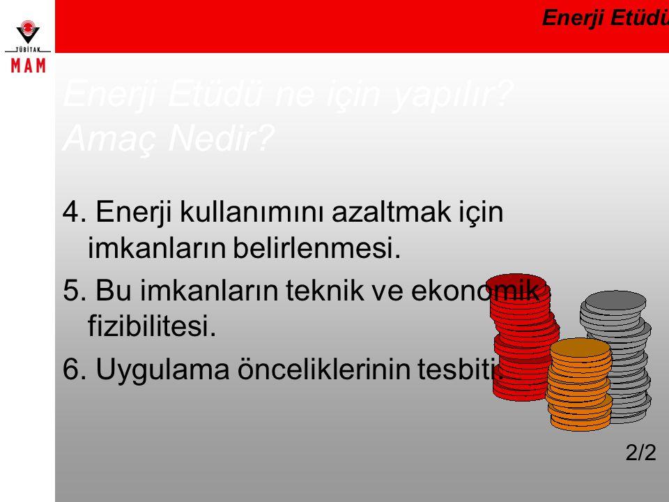 Enerji Etüdü ne için yapılır? Amaç Nedir? 4. Enerji kullanımını azaltmak için imkanların belirlenmesi. 5. Bu imkanların teknik ve ekonomik fizibilites