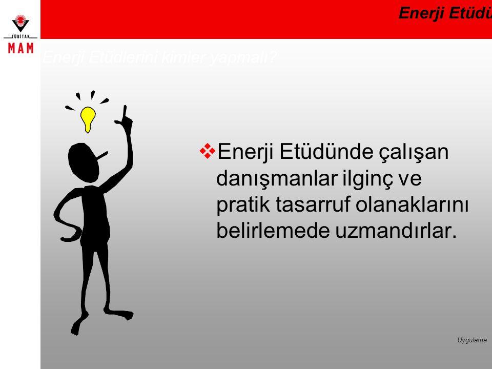 Enerji Etüdlerini kimler yapmalı?  Enerji Etüdünde çalışan danışmanlar ilginç ve pratik tasarruf olanaklarını belirlemede uzmandırlar. Enerji Etüdü U