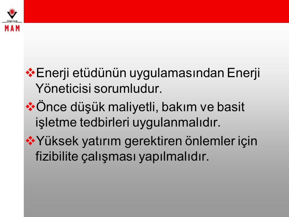  Enerji etüdünün uygulamasından Enerji Yöneticisi sorumludur.  Önce düşük maliyetli, bakım ve basit işletme tedbirleri uygulanmalıdır.  Yüksek yatı