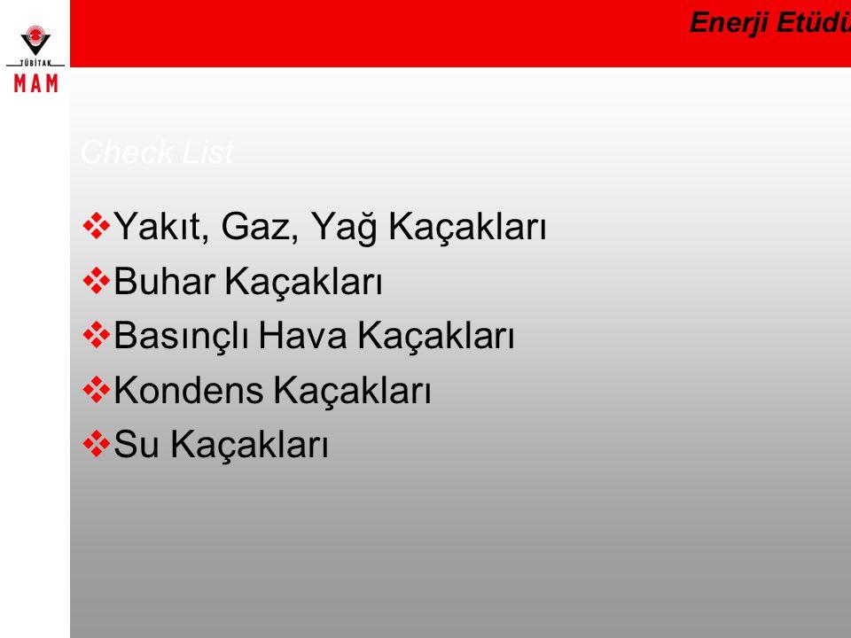 Check List  Yakıt, Gaz, Yağ Kaçakları  Buhar Kaçakları  Basınçlı Hava Kaçakları  Kondens Kaçakları  Su Kaçakları Enerji Etüdü