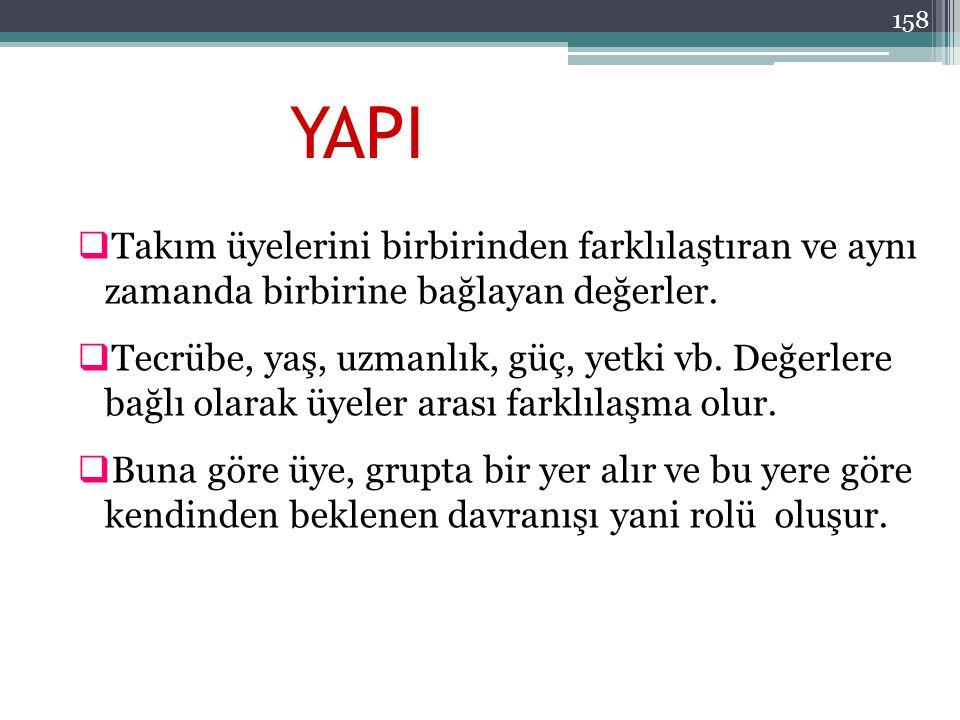 158 YAPI  Takım üyelerini birbirinden farklılaştıran ve aynı zamanda birbirine bağlayan değerler.