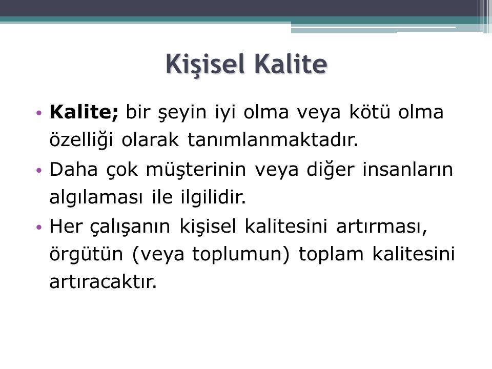 Kişisel Kalite • Kalite; bir şeyin iyi olma veya kötü olma özelliği olarak tanımlanmaktadır.