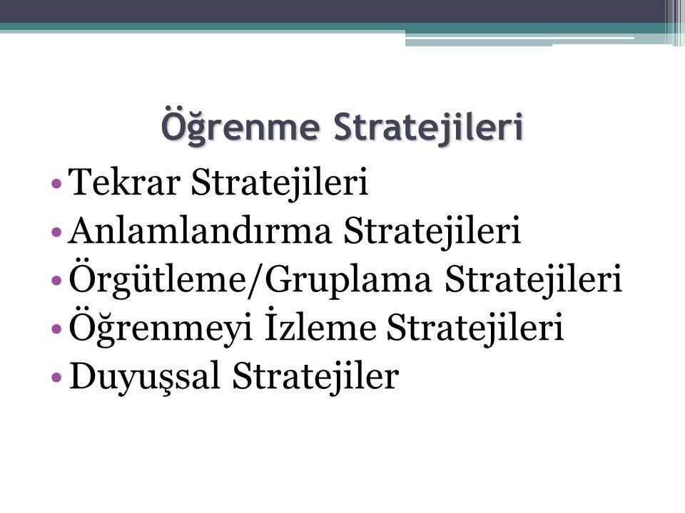 Öğrenme Stratejileri •Tekrar Stratejileri •Anlamlandırma Stratejileri •Örgütleme/Gruplama Stratejileri •Öğrenmeyi İzleme Stratejileri •Duyuşsal Stratejiler