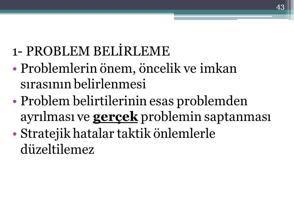 43 1- PROBLEM BELİRLEME •Problemlerin önem, öncelik ve imkan sırasının belirlenmesi •Problem belirtilerinin esas problemden ayrılması ve gerçek problemin saptanması •Stratejik hatalar taktik önlemlerle düzeltilemez