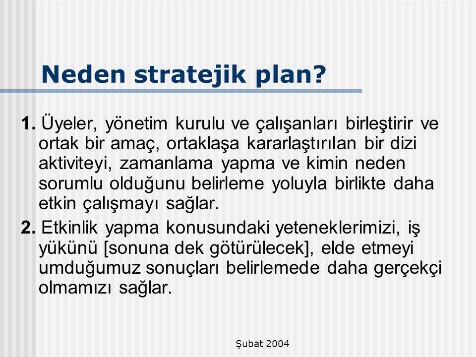 Şubat 2004 Neden stratejik plan? 1. Üyeler, yönetim kurulu ve çalışanları birleştirir ve ortak bir amaç, ortaklaşa kararlaştırılan bir dizi aktiviteyi
