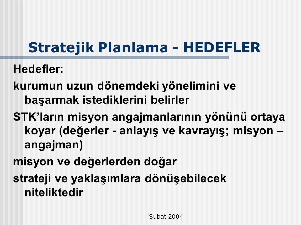 Şubat 2004 Stratejik Planlama - HEDEFLER Hedefler: kurumun uzun dönemdeki yönelimini ve başarmak istediklerini belirler STK'ların misyon angajmanların