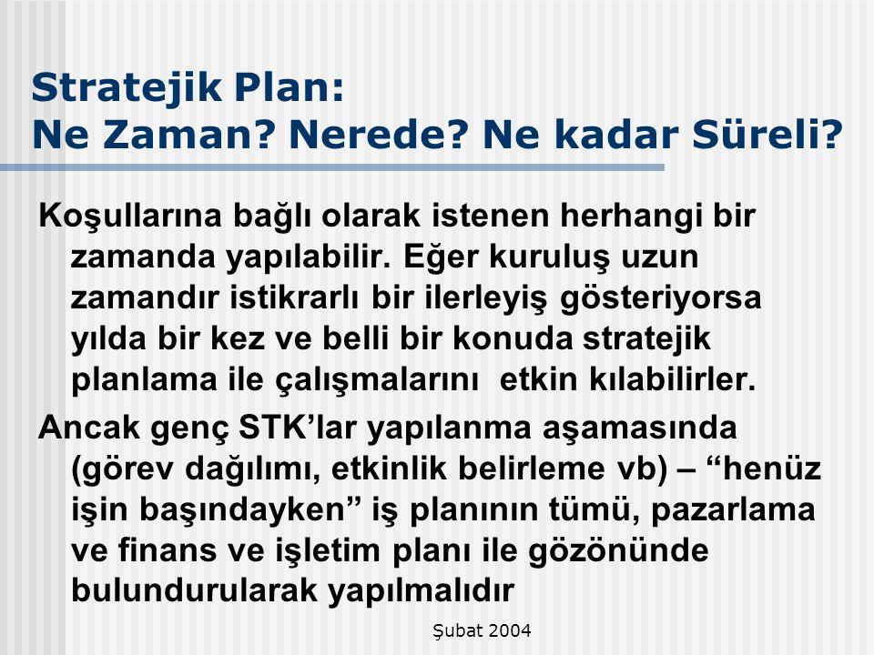 Şubat 2004 Stratejik Plan: Ne Zaman? Nerede? Ne kadar Süreli? Koşullarına bağlı olarak istenen herhangi bir zamanda yapılabilir. Eğer kuruluş uzun zam