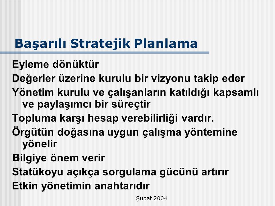 Şubat 2004 Başarılı Stratejik Planlama Eyleme dönüktür Değerler üzerine kurulu bir vizyonu takip eder Yönetim kurulu ve çalışanların katıldığı kapsaml