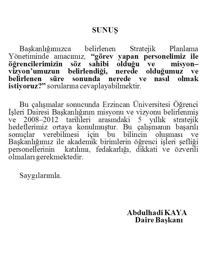 I.GENEL BİLGİLER 1.Tarihçe Üniversitemiz Öğrenci İşleri Dairesi Başkanlığı Erzincan Üniversitesi Rektörlüğü bünyesinde, 2547 sayılı Kanun'un 51 ve 124 sayılı Yükseköğretim Üst Kuruluşları ile Yükseköğretim Kurumlarının İdari Teşkilatlanması hakkındaki Kanun Hükmünde Kararnamenin 29.