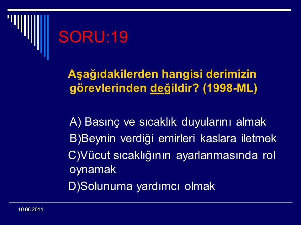 19.06.2014 SORU:19 Aşağıdakilerden hangisi derimizin görevlerinden değildir? (1998-ML) A) Basınç ve sıcaklık duyularını almak B)Beynin verdiği emirler