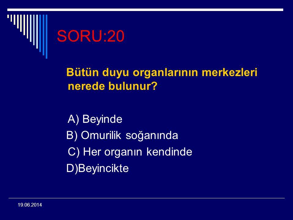 19.06.2014 SORU:20 Bütün duyu organlarının merkezleri nerede bulunur? A) Beyinde B) Omurilik soğanında C) Her organın kendinde D)Beyincikte