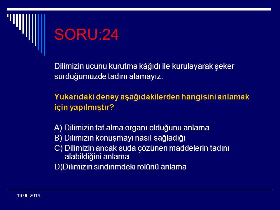 19.06.2014 SORU:24 Dilimizin ucunu kurutma kâğıdı ile kurulayarak şeker sürdüğümüzde tadını alamayız. Yukarıdaki deney aşağıdakilerden hangisini anlam