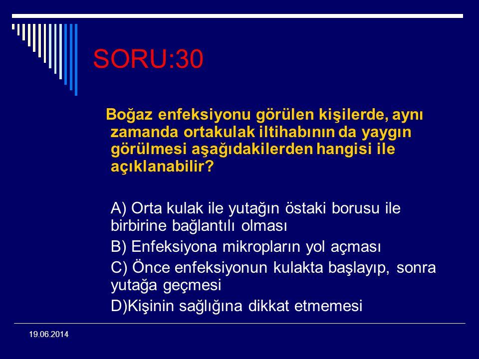 19.06.2014 SORU:30 Boğaz enfeksiyonu görülen kişilerde, aynı zamanda ortakulak iltihabının da yaygın görülmesi aşağıdakilerden hangisi ile açıklanabil