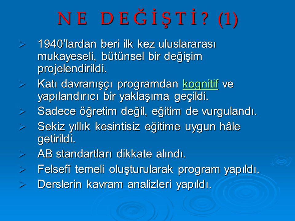 N E D E Ğ İ Ş T İ ? (1)  1940'lardan beri ilk kez uluslararası mukayeseli, bütünsel bir değişim projelendirildi.  Katı davranışçı programdan kogniti
